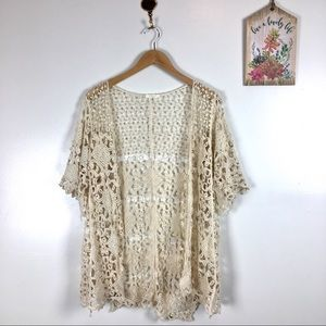 Evelyn K Anthropologie lace kimono top